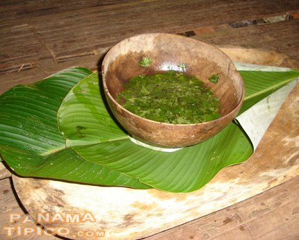 [The Embera Indians use totumas for mixing albahaca grass with water. The resulting liquid is used for washing their hands after a meal.]