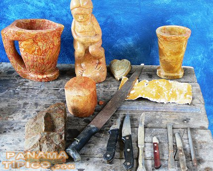 [Tools for working the rocks and some handicraft at different stages of work.]
