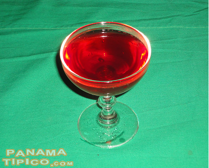 [Once boiled and later cooled, the hibiscus drink is ready to be served.]