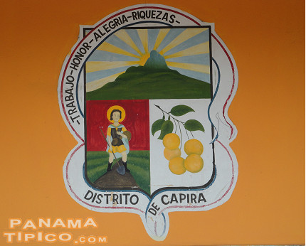 [The beautiful coat of arms of the county is painted on the front wall of the Municipal Palace.]