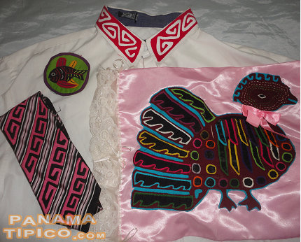 [In recent years, molas have been incorporated to the design of non-traditional clothing and other items.]