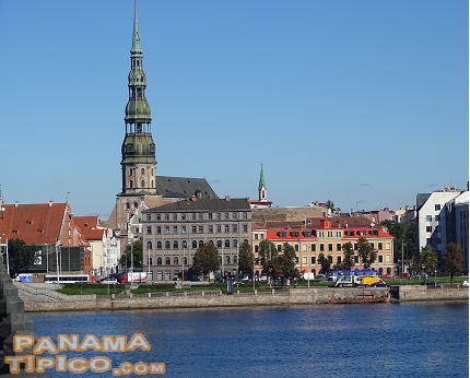 [Our first image of the Old City of Riga was this view of St. Peter's Church while we were crossing the Daugava River.]