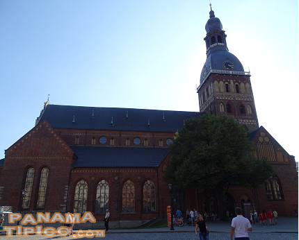 [Another icon of the city is the impressive Riga Cathedral.]