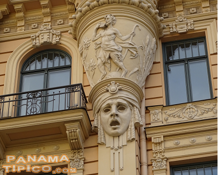 [A few blocks north of the church, there is the Art Nouveau District with impressive buildings decorated in this style.]