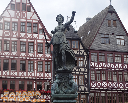 [After leaving Riga, we made a brief layover at Frankfurt, Germany. We took advantage if it to visit Römer Square.]