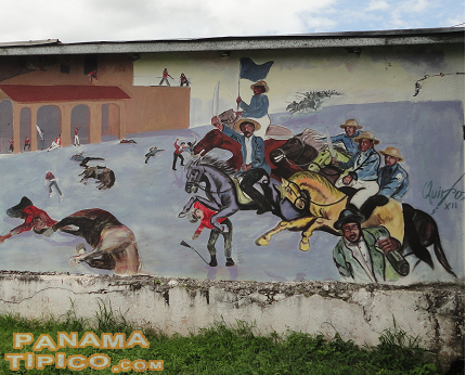 [Outside, there are murals about The Guaraperos, an insurrection that took place in Chiriquí in 1866.]