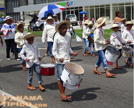 [As in many celebrations in Panama, there were many marching school bands.]