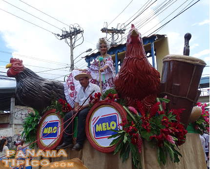 [The Melo entourage included a cart featuring traditional music instruments of Panama and the importance that raising poultry has in our countryside.]