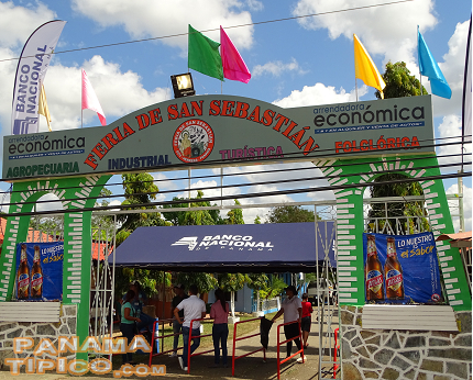 [Each country fair has an entrance arch. The one at Ocu reflects elements of the town's traditional architecture.]