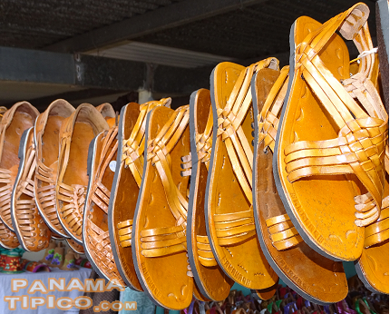 [Cutarras, the handmade sandals of the campesinos of Panama, were available at several stands.]