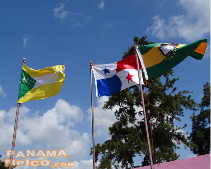 [Flags from West Panama province, Republic of Panama and La Chorrera district welcomed the fairgoers.]
