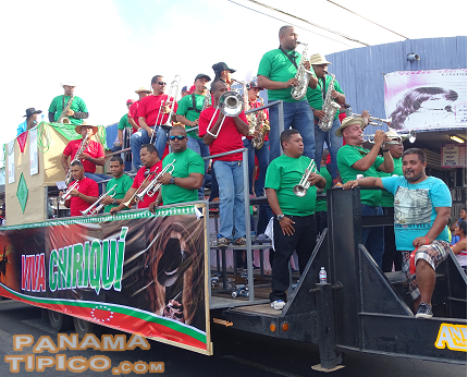 [Murga, a Panamanian brass band, was featured in the parade.]