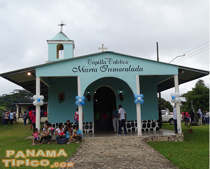 [As in towns all over Panama, the center of the community is the Catholic Chapel.]