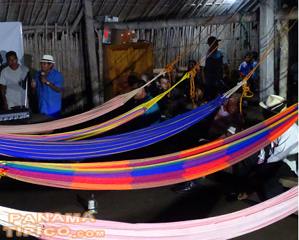 [The House of Congress, decorated with hammocks, was the venue for the festival's opening.]