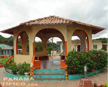 [Going back to the square, it has a gazebo surrounded by gardens.]