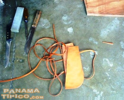 [Tools, soles and straps, ready for the making of the cutarras]